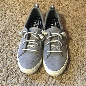 Women's Size 7 Grey White Suede Sperry Shoes